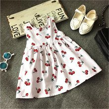 Cherry Print Vest Baby Girl Clothing Floral Kids Dresses for Girls Birthday Outfit Baby Girl Baptism vestido Toddler Causal Wear(China)