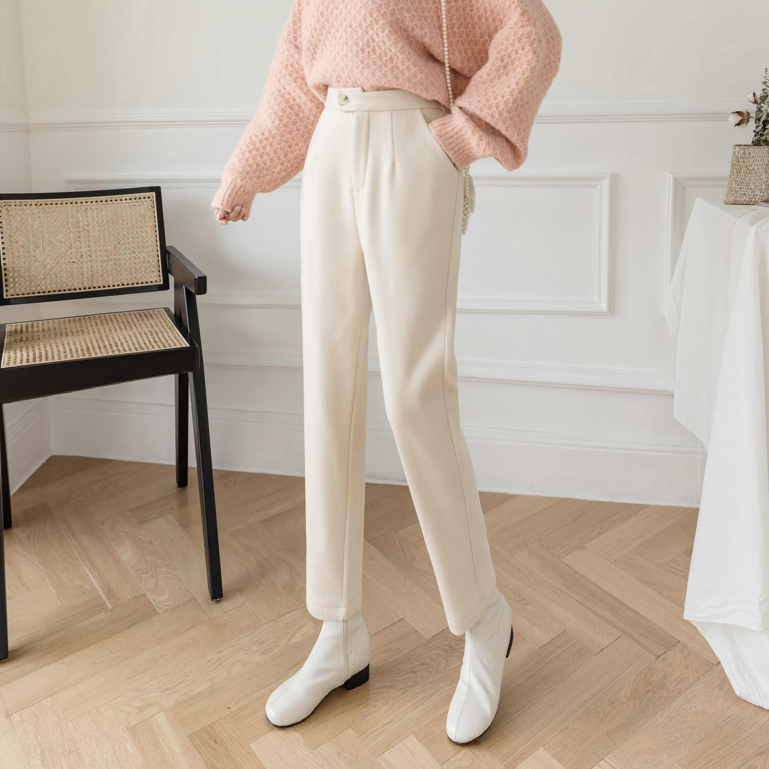 Pantalones De Traje De Lana Gruesa Para Mujer Pantalones Rectos De Cintura Alta De Cachemira Para Otono E Invierno 2021 Pantalones Y Pantalones Capri Aliexpress