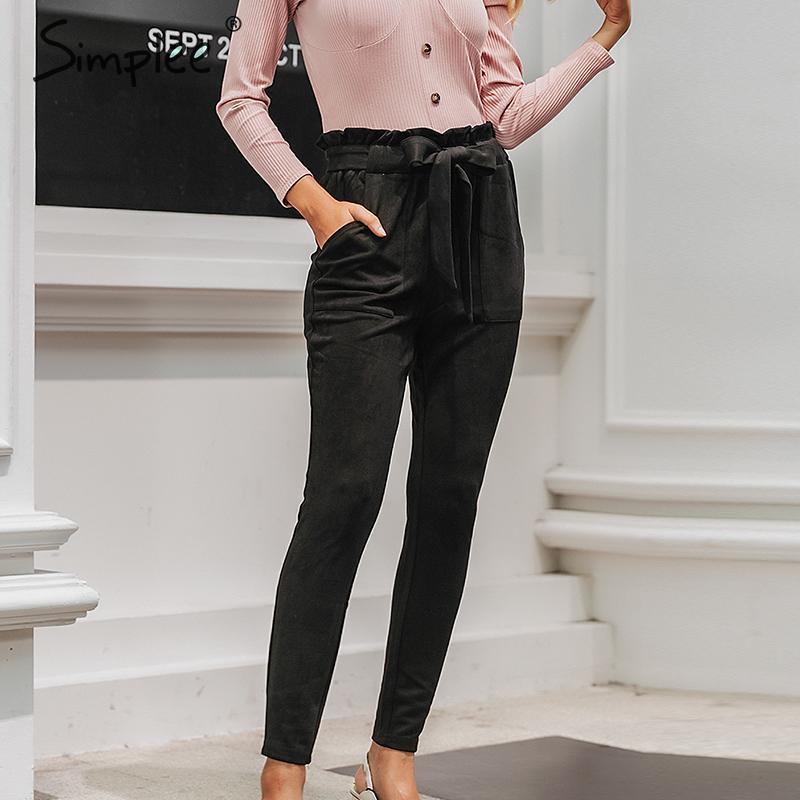 Simplee Suede High Waist Pencil Pants Capris Women Bottom Sash Streetwear Casual Pants 2017 Autumn Chic Black Winter Trousers