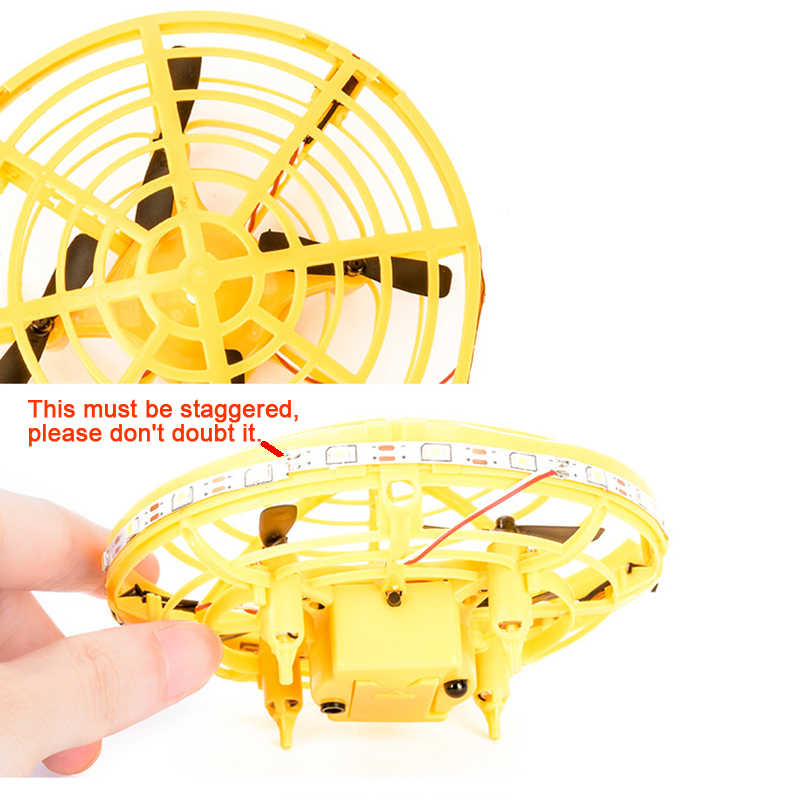 Vliegende Helikopter Mini UFO drone Geel Hand Controlled Drone Vliegende Speelgoed Infrarood Inductie Interactieve Drone Voor Kinderen