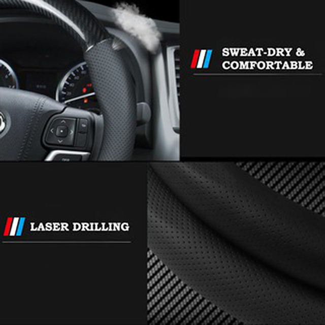 Car Carbon Fiber Steering Wheel Cover 38cm for BMW All Models 1 2 3 4 5 6 7 Series Auto Interior Accessories Car styling 5