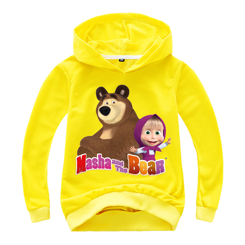 Autumn Masha Kids Boys Girls Bear Hooded Cartoon 3D Hoodie Sweatshirt Tops Clothes