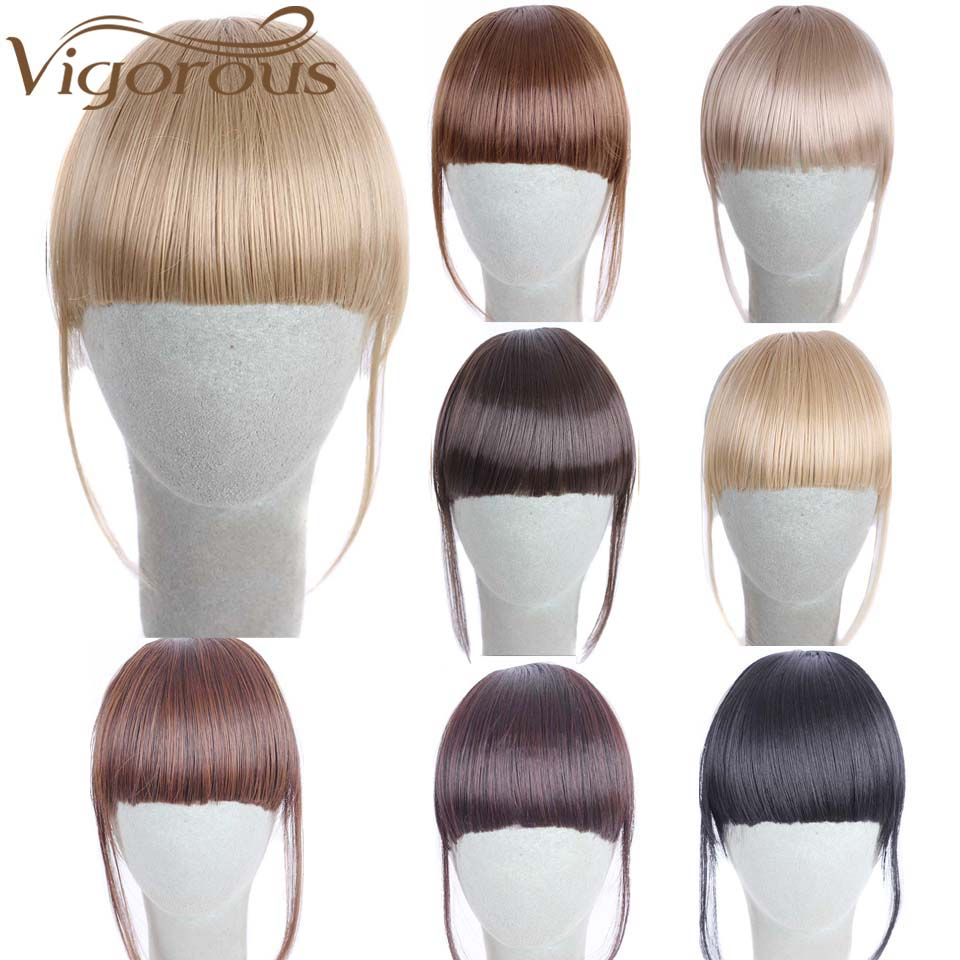 Vigorous Pure Short Front Bangs 5 Clips Straight Fringe Synthetic Hair 14 Colors Bangs Extension Hairpiece Heat Resistance Black