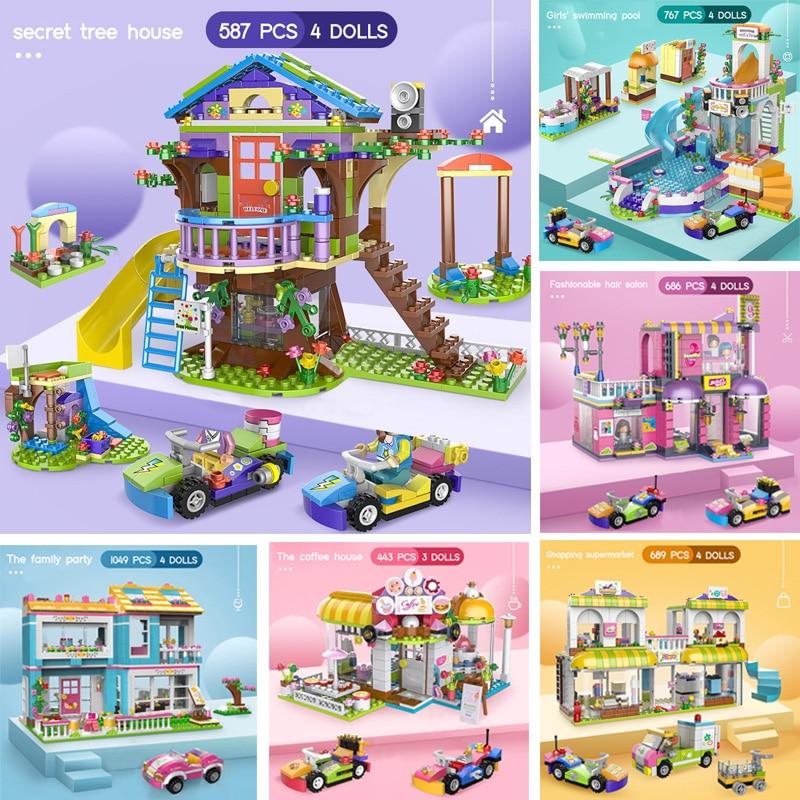 1049 шт секретные друзья дерево дом город строительные блоки девушки DIY укладки Кирпичи игрушки для детей с фигурами куклы и автомобили|Блочные конструкторы|   | АлиЭкспресс