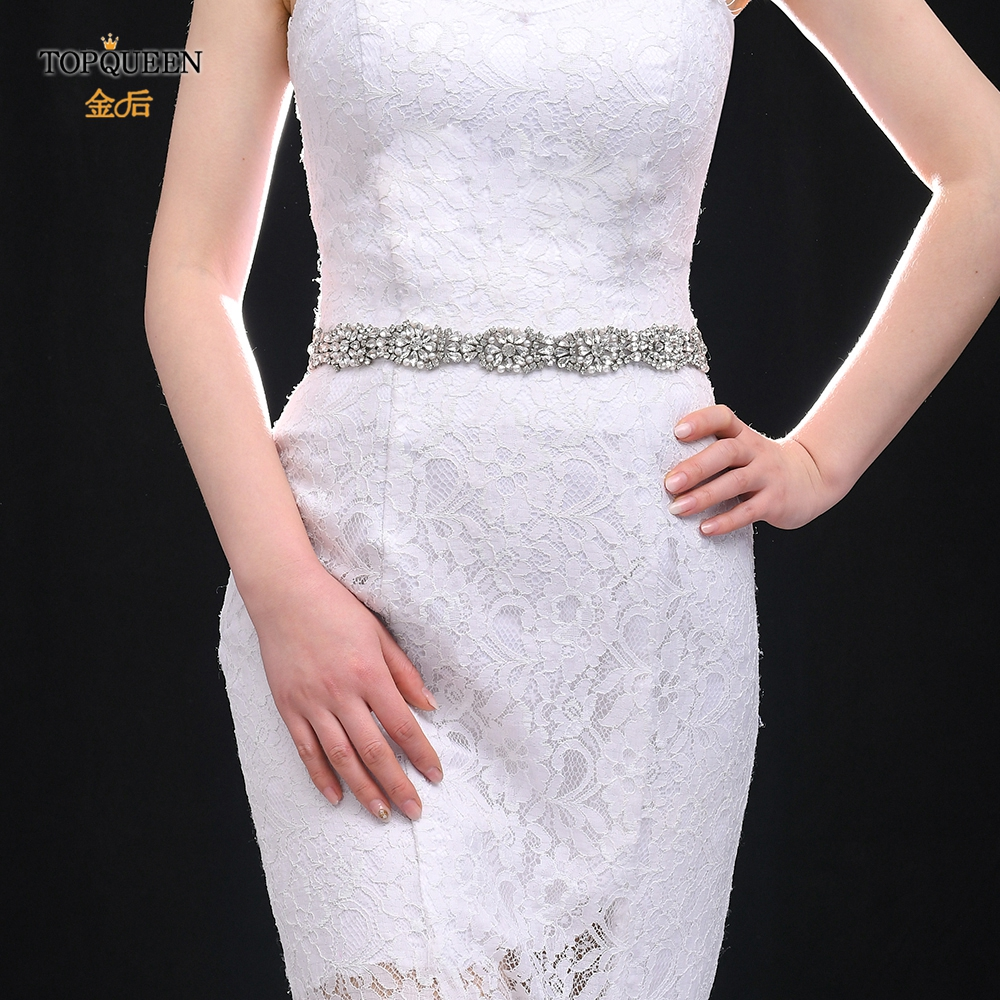 TOPQUEEN S338 Bridal Belt Luxury Handmade Pearl Rhinestones Wedding Dresses Sash Sparkly Bridesmaid Womens Prom Party Belts