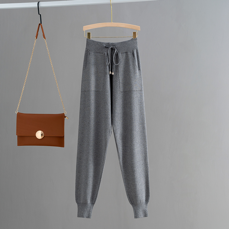 H634dda8bbc104960b134d474d342d42ef - GIGOGOU Knitted High Waist Women Crop Harem Trousers Solid Peg Leg Fly Pants Casual Drawstring Winter Warm Workwear Carrot Pants