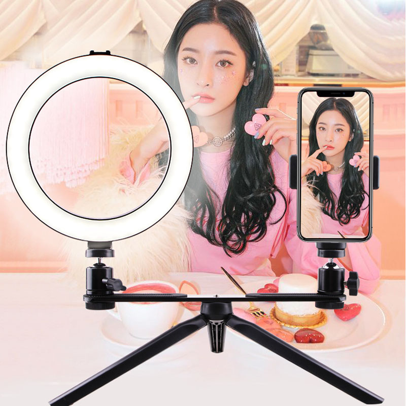 smartphone Photography LED Selfie Ring Light usb Dimmable Camera Phone Ring Lamp Table Tripods For Makeup Video Live Studio