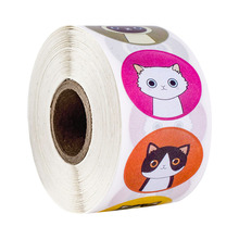 500 pcs/roll stationary stickers round animal cartoon cute cat for party marriage decoration sticker