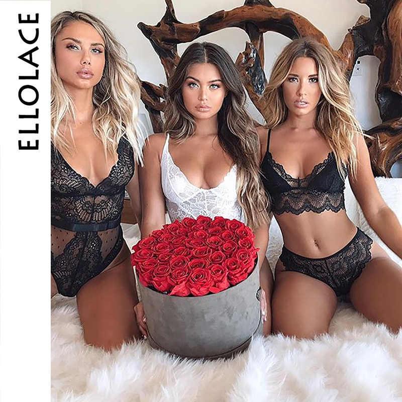 Ellolace verão rendas bodysuit feminino floral bordado profundo decote em v sexy bodysuit dot retalhos macacão 2019 femlae corpo