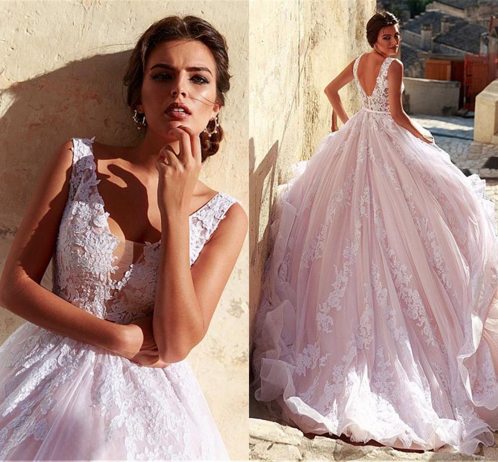 Romantic Tulle V-neck Neckline A-line Wedding Dress 2019 With Lace Appliques Pink Long Bridal Gown Vestido De Festa
