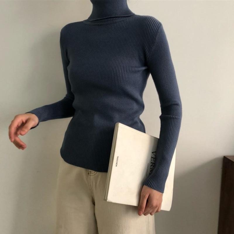 Осень корейский 2020 круглый Однотонный свитер облегающий пуловер