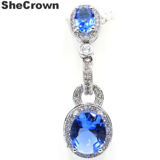 39x12mm Romantic Rich Blue Violet Tanzanite Natural White CZ Gift For Woman's 925 Silver Pendant
