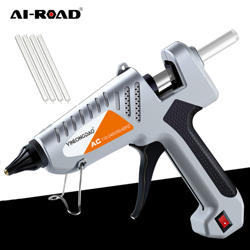 AI-ROAD 200W Hot Melt Glue Gun EU Use With 30PC 11mm Glue Sticks And Bag Repair Hot Air Gun DIY Heat Hand Tool