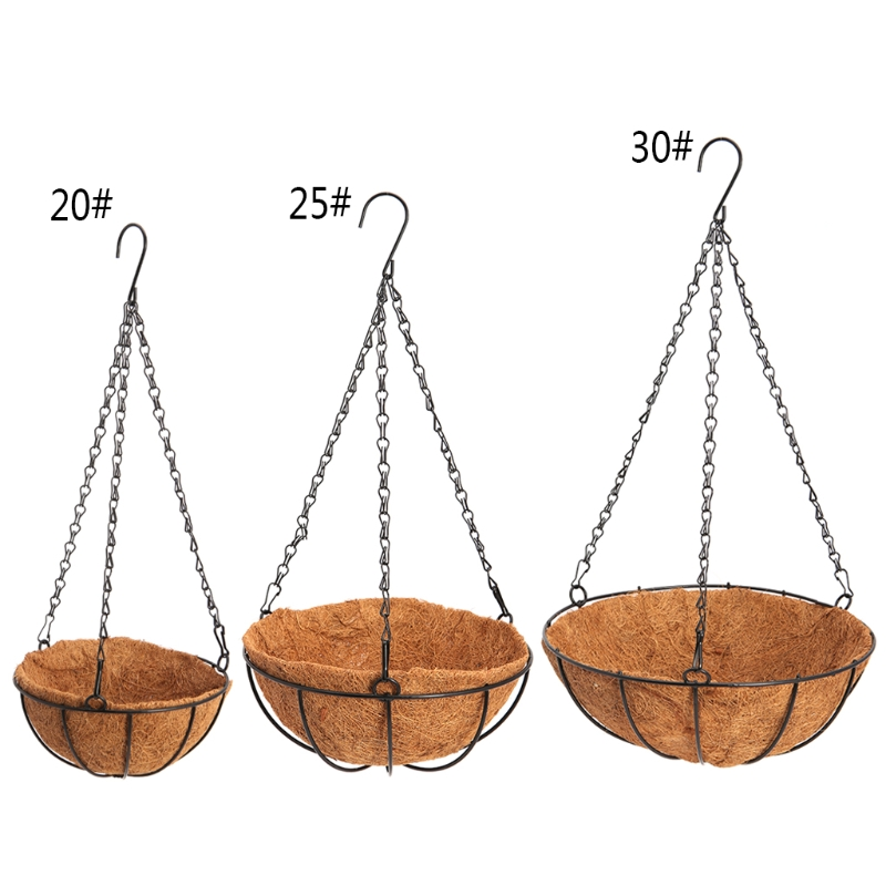 Hanging Coconut Vegetable Flower Pot Basket Liners Planter Garden Decor Iron Art GXMA