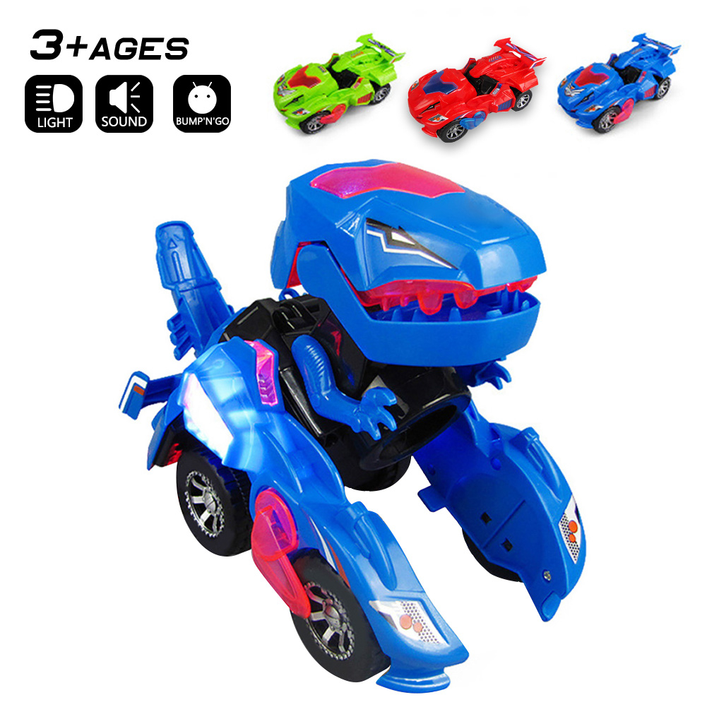 LED Car Dinosaur Deformation Toys Kids Playing Deformation Toys with Light Music