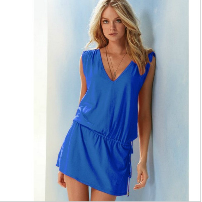 2020 New Summer Dress Women Beach Vestidos Sleeveless Sexy V Neck Backless Cotton Elastic Waist Casual Mini Plus Size Dress Red