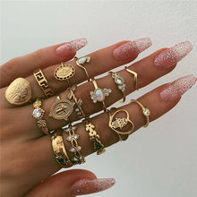 WUKALO 15 Pcs/set Bohemia Women Fashion Heart Fatima Hands Virgin Mary Cross Leaf Hollow Geometric Crystal Ring Set Jewelry