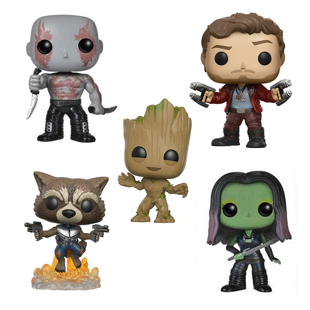 Marvel Characters Rocket Raccoon Star-Lord Gamora Drax The Destroyer Groots  Kawaii 10cm Action Figure Toys