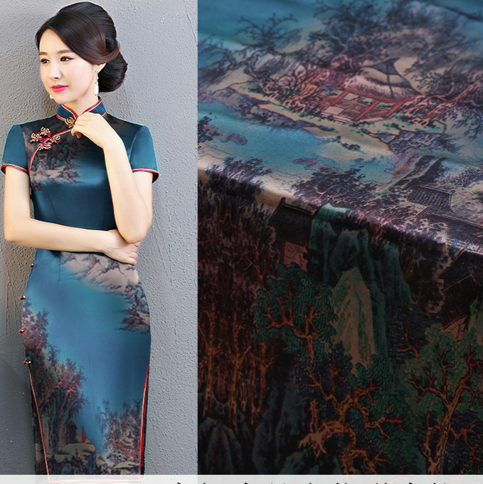138cm de large imprimé chinois soie tissu 19mm soie stretch satin tissu mètre numérique jet d'encre robe tissu en gros soie tissu