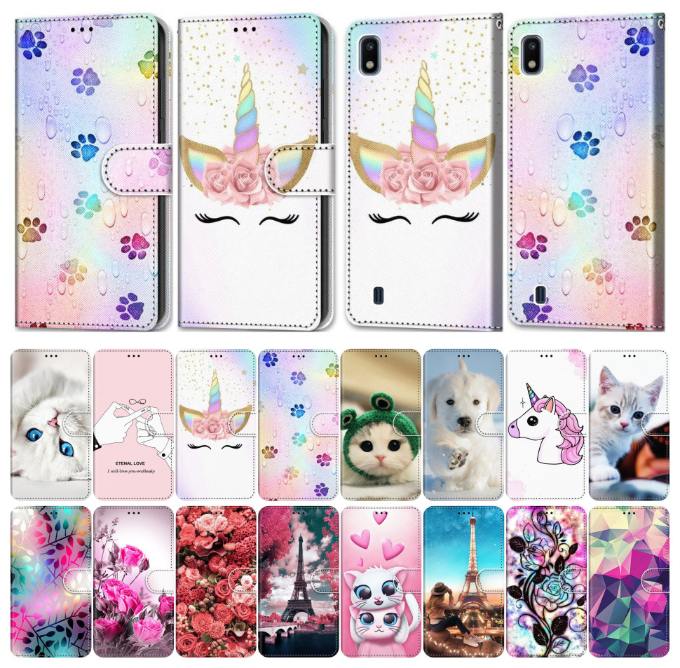 Flip Phone Cover For Case iPhone 6 6S 7 8 XR X XS Max Girl Boy Phone Bags Cute Lovely Colored Painted Flower Cat Dog Wolf E08F