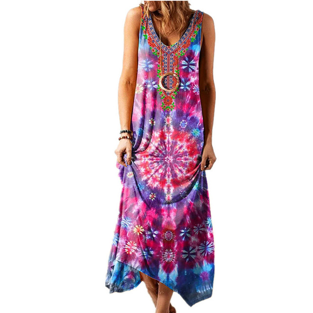 Summer Long Skirt New Ethnic Style Loose Printed Vest One-piece Long Skirt Fashionable Sexy Bohemian Dress 3