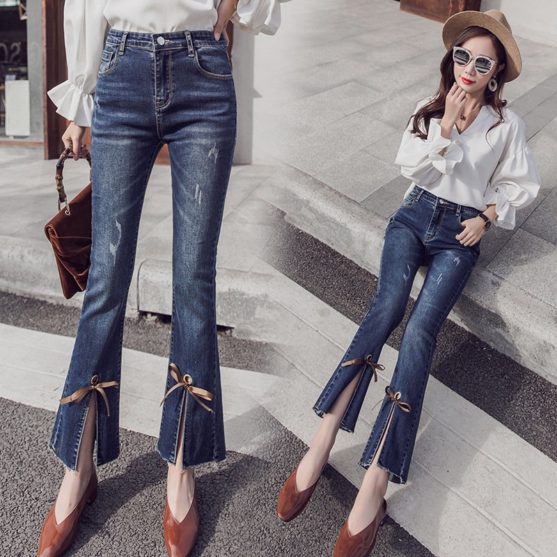 Photo Shoot Micro Bell-bottom Pants WOMEN'S Ninth Pants 2019 Autumn New Style High Waist Pants Feet Bandage Cloth Korean-style S