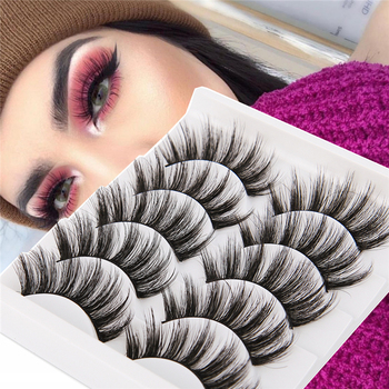 5 Pairs 3D Mink Hair False Eyelashes Natural/ Thick Long Eye Lashes Wispy Fluffy Eye Lash Extension Makeup Beauty Cosmetic Tools 5 pairs 3d mink hair false eyelashes natural thick long eye lashes fluffy wispy eye makeup beauty soft eyelash extension tools