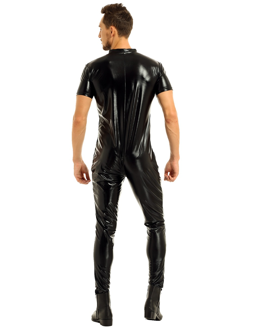 iEFiEL Mens Stretchy Faux Leather Short Sleeves Zipper Crotch Full Body Leotard Bodysuit Clubwear Overalls for Evening Party 15