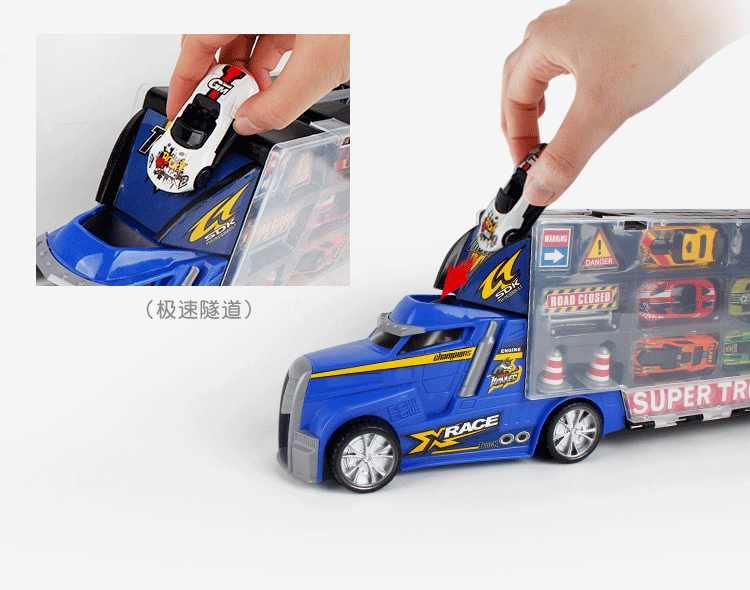 6 Pcs Alloy Diecast Mobil + Jalan Adegan Set dengan Truk Penyimpanan Membawa Kotak pendidikan Koleksi Mainan Anak Laki-laki Anak-anak Hadiah