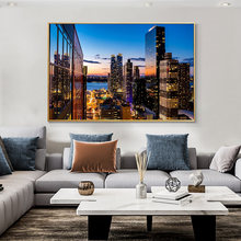 Нью Йорк ночная съемка здание живопись на холсте домашний декор