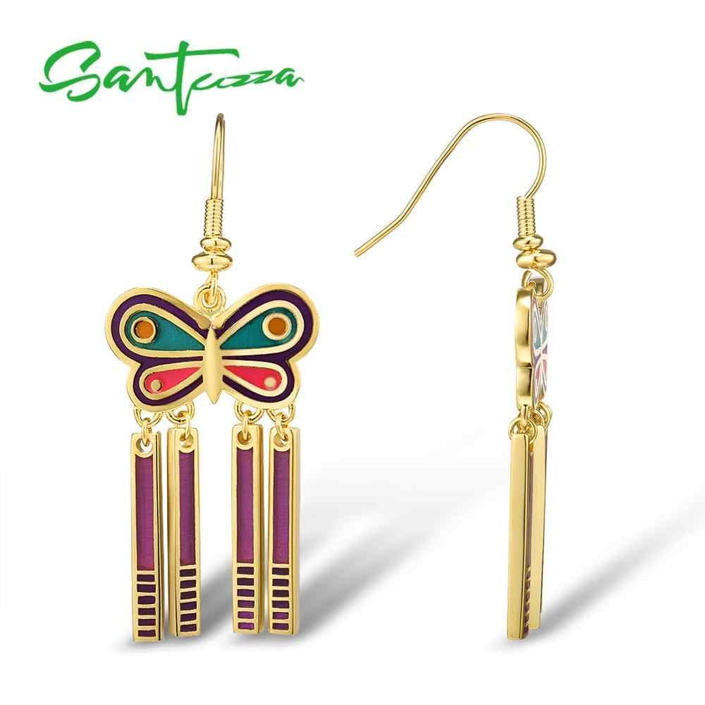 Boucles d'oreilles SANTUZZA pour femmes couleur or jaune doré charmant papillon à la main émail boucles d'oreilles fête bijoux de mode