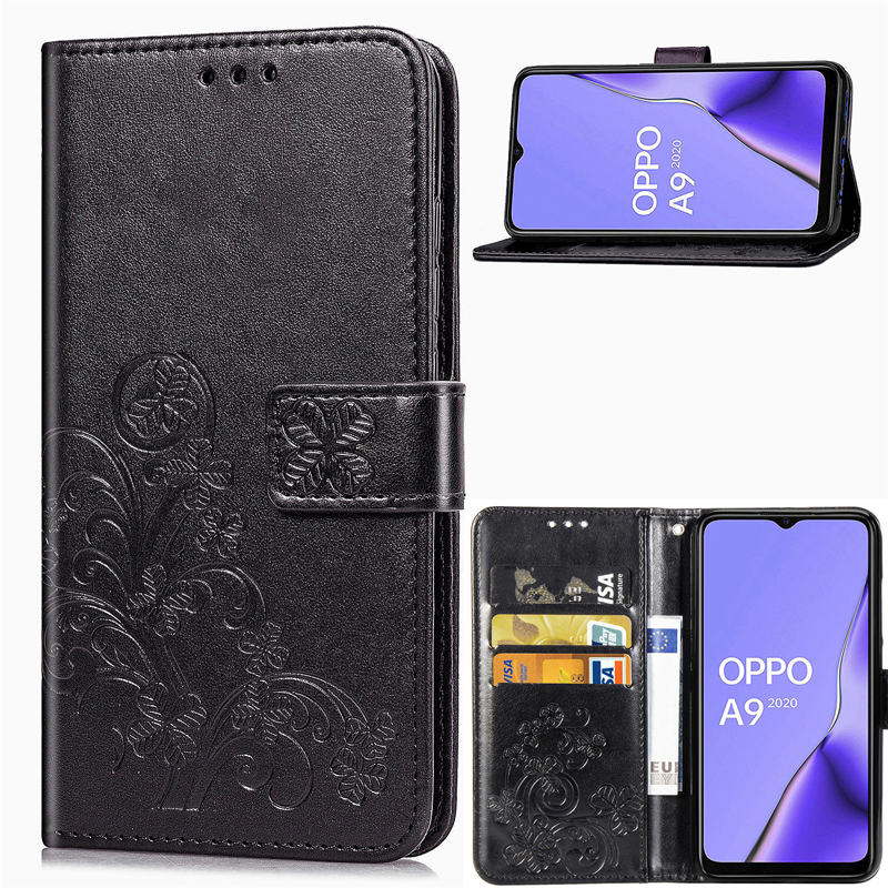 Leather Flip Wallet <font><b>Case</b></font> For <font><b>OPPO</b></font> <font><b>A5</b></font> <font><b>2020</b></font> <font><b>Case</b></font> Clover leather wallet Soft Silicon Cover Phone <font><b>Case</b></font> For <font><b>OPPO</b></font> <font><b>A9</b></font> <font><b>2020</b></font> Cover image