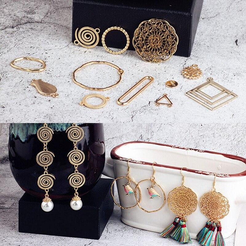 10pcs Korean Vintage Geometric Earrings Love Square Circle Earrings For Women Material Bracelet Pendant Diy Jewelry Accessories