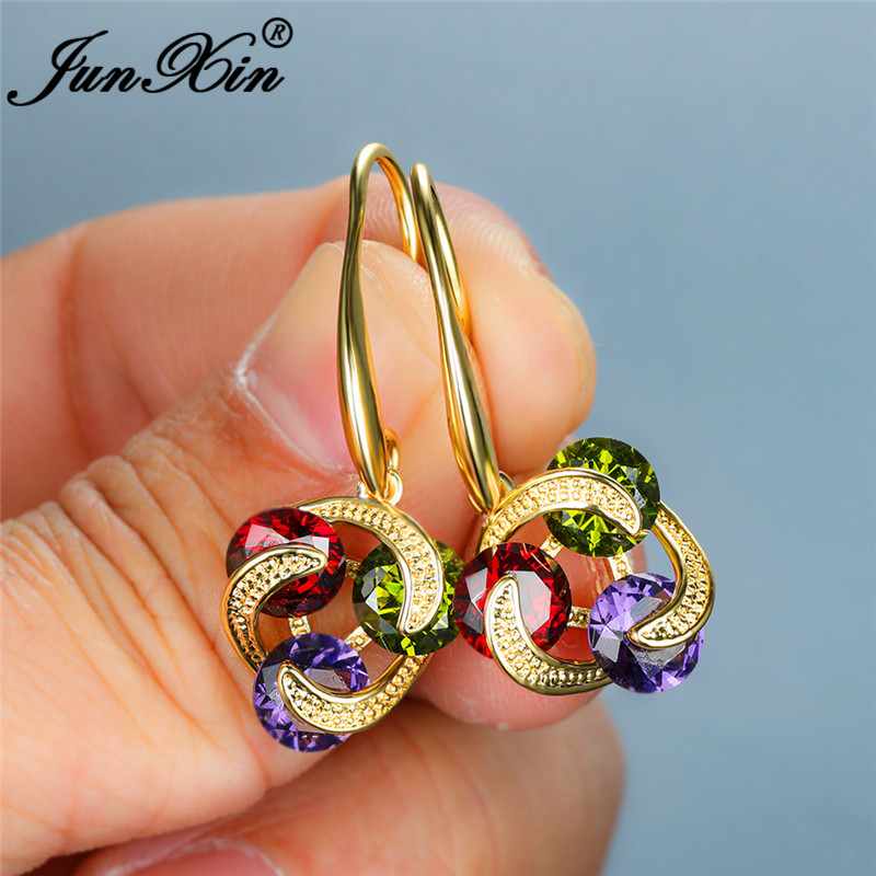 Bohemian Multicolor Crystal Round Ball Drop Earrings For Women White Gold Yellow Rose Gold Vintage Zircon Wedding Dangle Earring