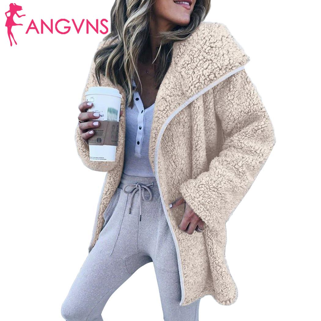 Women Long Sleeve Plush Jacket Warm Fashion Wool Winter Hooded Casual Solid Coat None Slim