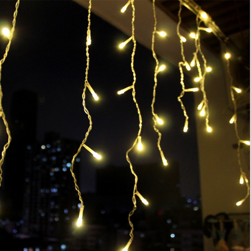 Image 3 - 8m 48m Christmas Garland LED Curtain Icicle String Light 220V Droop 0.4 0.6m Mall Eaves Garden Stage Outdoor Decorative LightsLED String   -