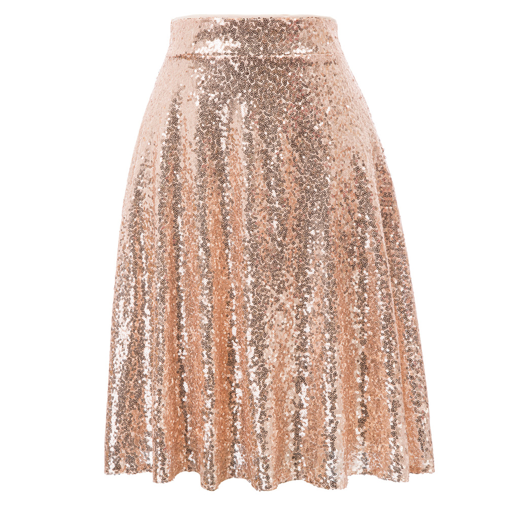 Women Swing Skirt Sparkling Sequins Sequined Skirt Stunning High Waist Solid Knee Length Sweet Party Lady Flared A-Line Skirts