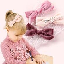 Children's Headband Velvet Rabbit Ear Baby Accessories Baby Hair Clips Solid Nylon Headbands