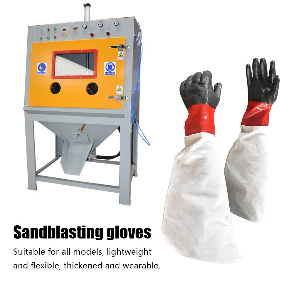 Rubber Sandblasting Gloves Sandblaster Sand Blast Breathable Wear-Resisting Gloves For Sandblast Cabinets Safety Glove