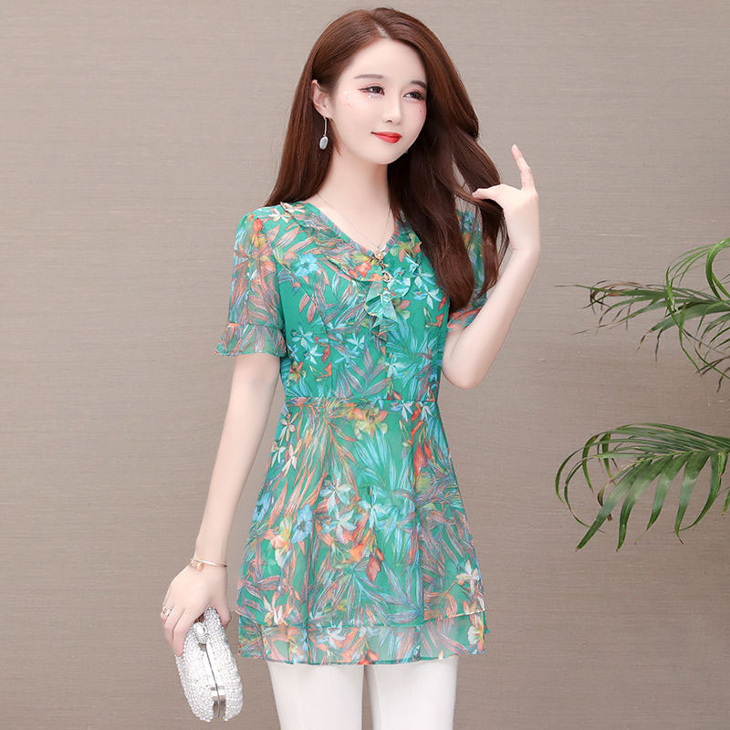 Women Casual Chiffon Blouses Shirts Lady Summer Style V-neck Flower Printed Long Blusas Tops DF2906