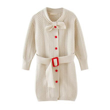 Spring girls dress children sweater coat new children fashion cardigan sweater dress knitted clothes long sleeve girl dress(China)