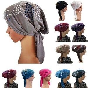 Image 1 - Мусульманская шапочка под шарф, женская внутренняя шапочка, нижний шарф, кепка для индийского рака, кепка для химиотерапии, мусульманский шарф, шапка для выпадения волос