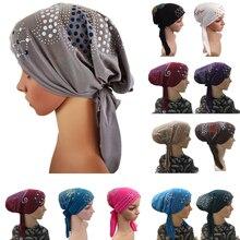 Muslim Under Scarf Bone Bonnet Women Inner Cap Rhinestone Hijab Underscarf Indian Cancer Chemo Cap Islamic Scarf Hair Loss Hat