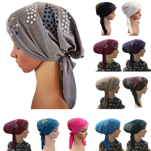 Image 1 - Muslim Under Scarf Bone Bonnet Women Inner Cap Rhinestone Hijab Underscarf Indian Cancer Chemo Cap Islamic Scarf Hair Loss Hat