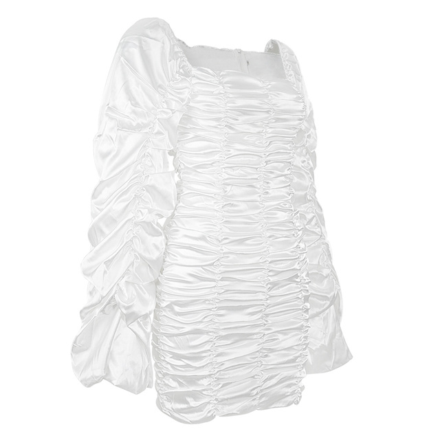 Curve Enhancing White Silk Ruched Mini Dress Kyliejenner Extended Ruched Sleeves Dress with Wrist Slit Opening 4