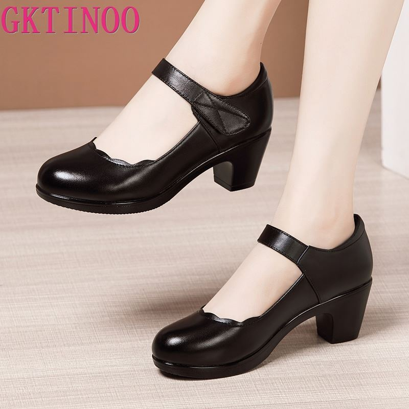 GKTINOO Classical Black Work Shoes Women Leather Single Shoes Women Spring Autumn Round Toe High Heels Comfortable Shoes