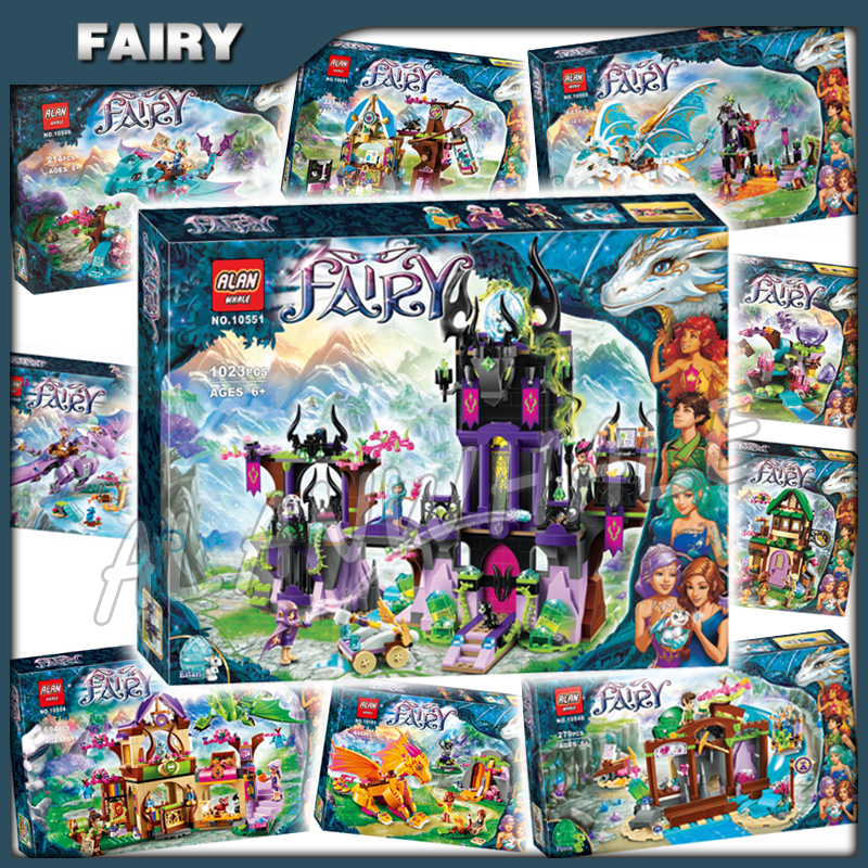 10types 2016 Elves Theme Magic Shadow Castle Wind Fire Earth Queen Dragon Model Building Block Children Toy Compatible With Lago image