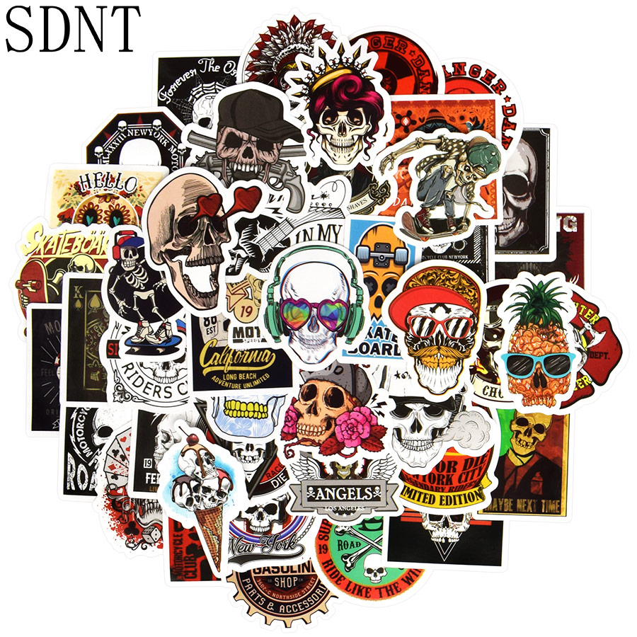 50 PCS Skeleton Cool Sticker Graffiti Punk Ghost Skull Rock Pc Stickers Waterproof Decal Stickers To DIY Skateboard Guitar Car