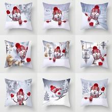 Christmas Snowman Series Peach Skin Pillow Cover Home Sofa Back Cushion Cover Customizable linen seat cushion merry christmas pillow cover