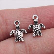 20 pçs antigo prata cor 10x13mm mar tartaruga encantos pingente para fazer jóias diy jóias descobertas